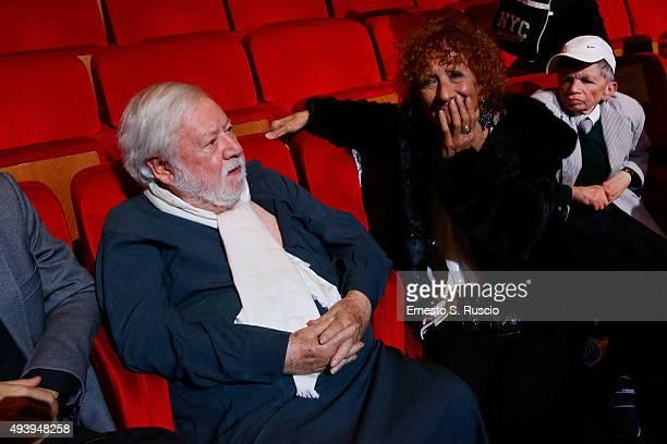 Paolo Vilaggio Anna Mazzamauro and Plinio Fernando attend the 'Tribute To Paolo Villaggio' during the 10th Rome Film Fest on October 23 2015 in Rome...