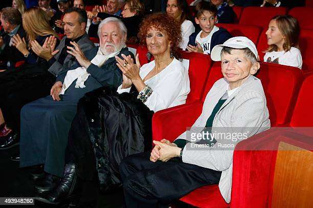 Paolo Vilaggio Anna Mazzamauro and Plinio Fernando attend the 'Tribute To Paolo Villaggio' during the 10th Rome Film Fest on October 23 2015 in Rome...