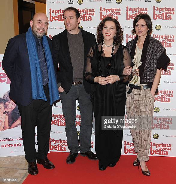 Paolo Virz Valerio Mastandrea Stefania Sandrelli and Claudia Pandolfi attend 'La Prima Cosa Bella' Premiere on January 13 2010 in Milan Italy