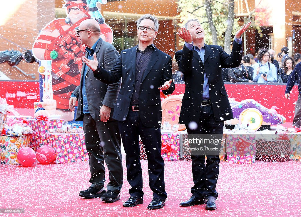 Paolo Virzi, director Rich Moore and producer Clark Spencer attend the 'Wreck-It Ralph' Premiere during the 7th Rome Film Festival at the Auditorium Parco Della Musica on November 13, 2012 in Rome, Italy.