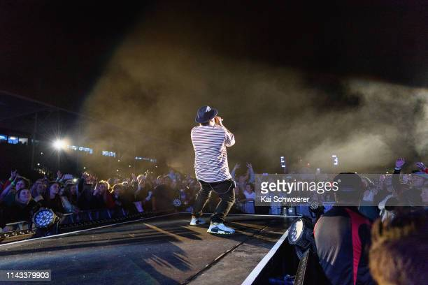 Paora Apera aka P Digss of Shapeshifter performs during the You Are Us/Aroha Nui Concert at Christchurch Stadium on April 17 2019 in Christchurch New...