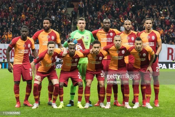 Papa Alioune Badou Ndiaye of Galatasaray SK Christian Luyindama of Galatasaray SK goalkeeper Fernando Muslera of Galatasaray SK Mbaye Diagne of...