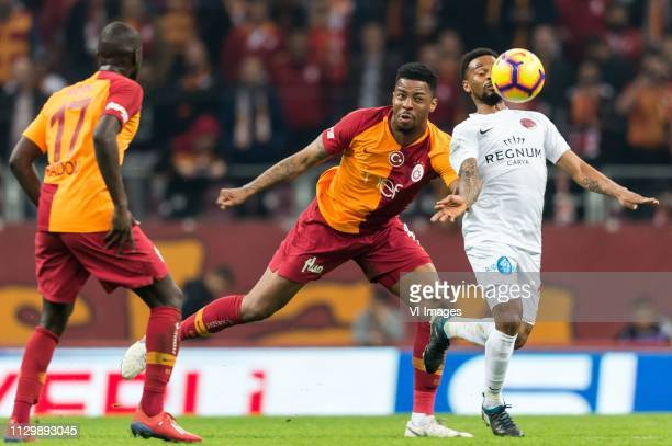 Papa Alioune Badou Ndiaye of Galatasaray SK Ryan Donk of Galatasaray SK Alfredo Ribeiro of Antalyaspor AS during the Turkish Spor Toto Super Lig...
