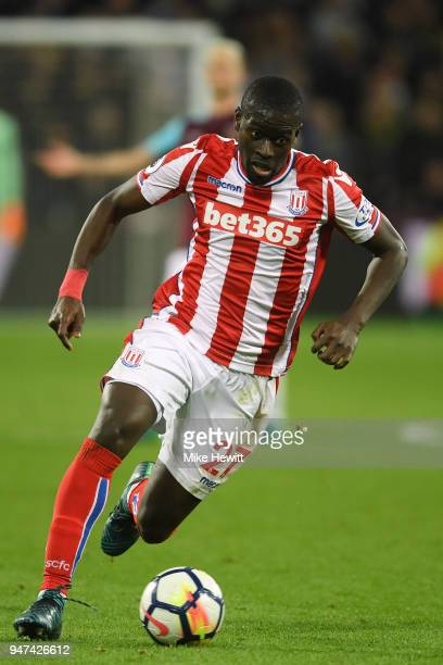 Papa Alioune Ndiaye of Stoke City in action during the Premier League match between West Ham United and Stoke City at London Stadium on April 16 2018...