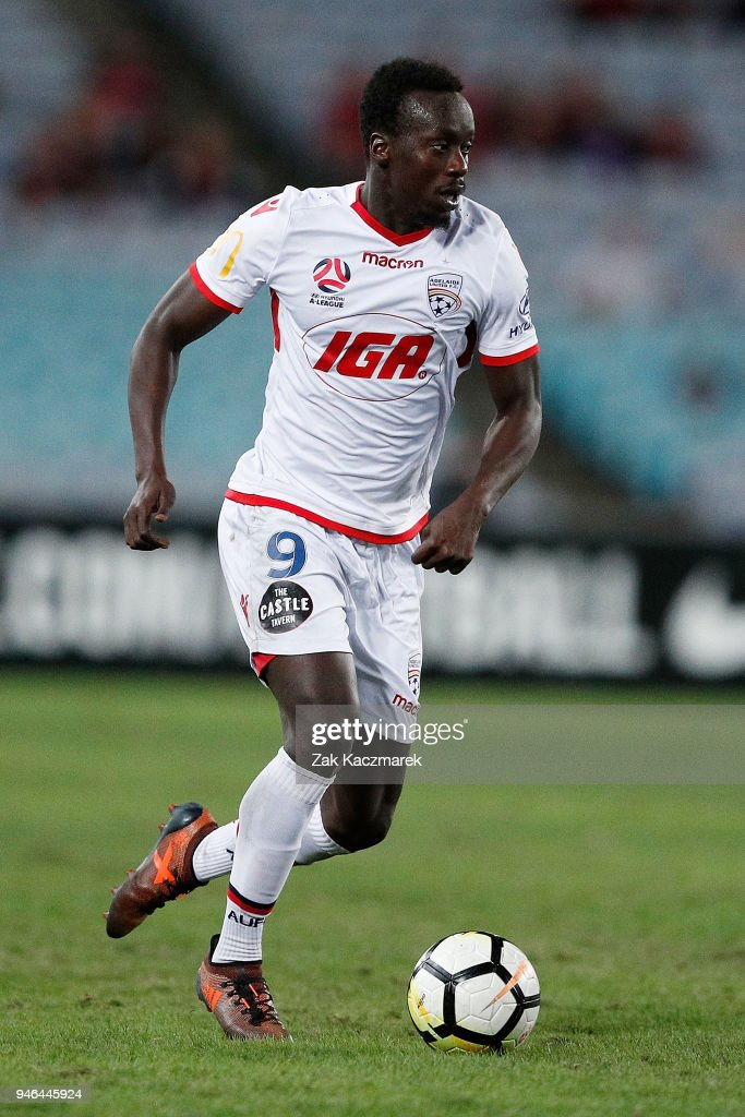 Papa Babacar Diawara of Adelaide controls the ball during the round 27 A-League match between the Western Sydney Wanderers and Adelaide United at ANZ Stadium on April 15, 2018 in Sydney, Australia.
