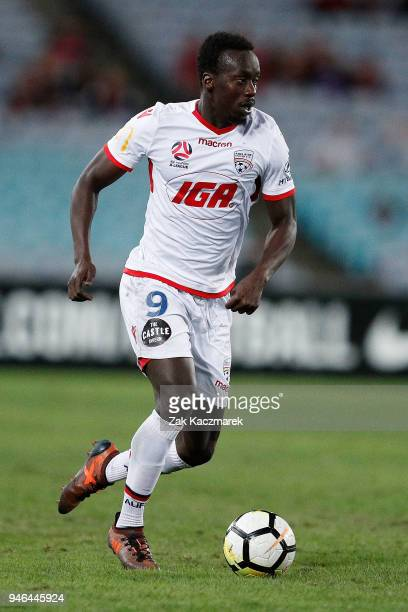 Papa Babacar Diawara of Adelaide controls the ball during the round 27 ALeague match between the Western Sydney Wanderers and Adelaide United at ANZ...