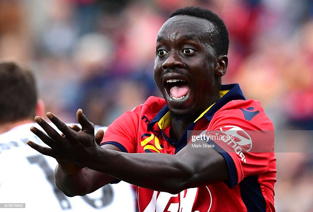 Papa Babacar Diawara of Adelaide United calls for a handball later given by video referall resulting in a penalty during the round eight A-League match between Adelaide United and the Western Sydney Wanderers at Coopers Stadium on November 26, 2017 in Adelaide, Australia.