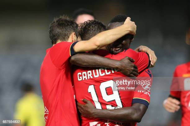 Papa Babacar Diawara of Adelaide United celebrates his second goal during the round 24 A-League match between Central Coast Mariners and Adelaide...
