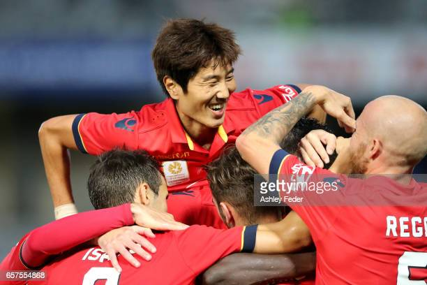 Papa Babacar Diawara of Adelaide United celebrates his second goal during the round 24 ALeague match between Central Coast Mariners and Adelaide...