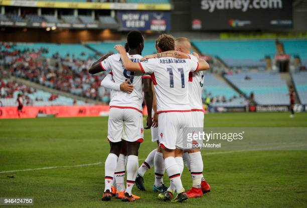 Papa Babacar of Adelaide United celebrates after scoring during the round 27 ALeague match between the Western Sydney Wanderers and Adelaide United...