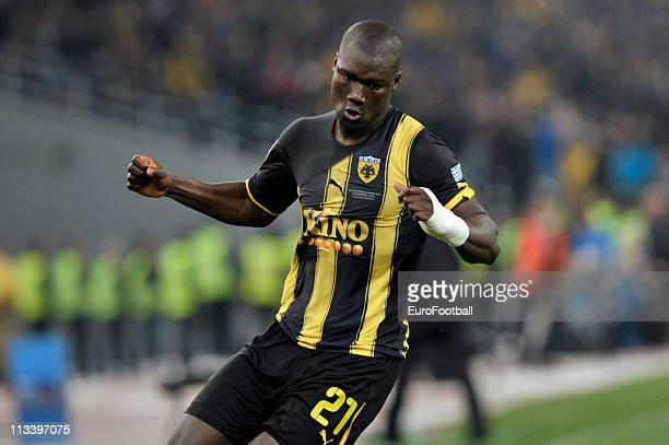 Papa Bouba Diop of AEK Athens in action during the 2011 Greek Cup Final between Atromitos Athens and AEK Athens at the Olympic Stadium on April 30...