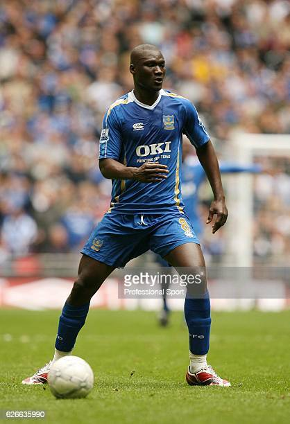 Papa Bouba Diop of Portsmouth in action during the FA Cup semifinal match between West Bromwich Albion and Portsmouth at Wembley Stadium on April 5...