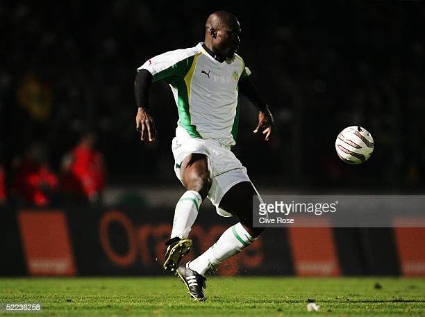 Papa Bouba Diop of Senegal controls the ball during the International friendly match between Cameron and Senegal at Stade Dominique Duvauchelle on...