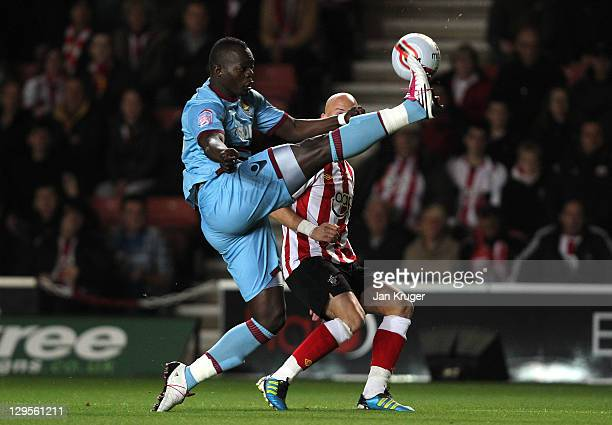 Papa Bouba Diop of West Ham controls the ball from Richard Chaplow of Southampton during the npower Championship match between Southampton and West...