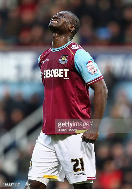 Papa Bouba Diop of West Ham reacts during the npower Championship match between West Ham United and Coventry City at Boleyn Ground on January 2 2012...