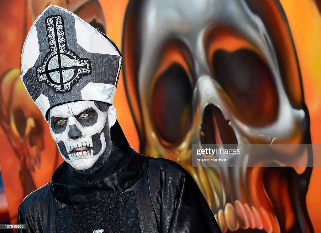 Papa Emeritus (Ghost B.C.) arrives at the 5th Annual Revolver Golden Gods Award Show at Club Nokia on May 2, 2013 in Los Angeles, California.