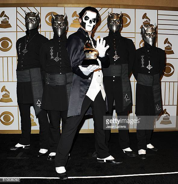 Papa Emeritus III and the Nameless Ghouls of the band Ghost pose in the press room at the The 58th GRAMMY Awards at Staples Center on February 15...