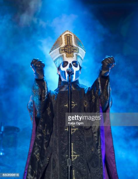 Papa Emeritus III of Ghost performing live on stage on day 2 at Bloodstock Festival at Catton Hall on August 12 2017 in Burton Upon Trent England