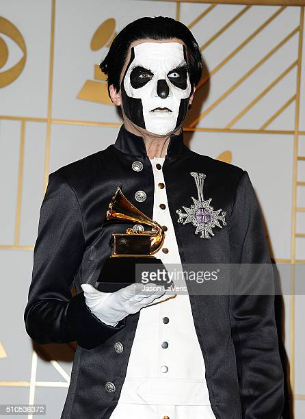 Papa Emeritus III of the band Ghost poses in the press room at the The 58th GRAMMY Awards at Staples Center on February 15 2016 in Los Angeles...