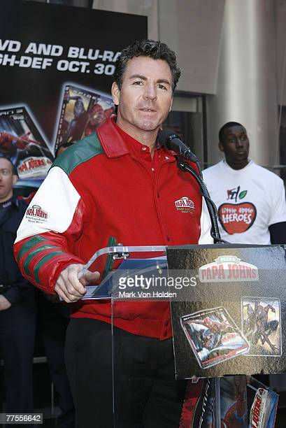 Papa John Founder John Schnatter at the SpiderMan and Papa John's Honor Hometown SuperHeroes October 29 2007 in Times Square in New York City