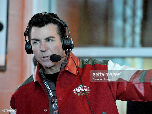 Papa John Schnatter founder and CEO of Papa John's Pizza takes part in a radio show prior to a game between the Pittsburgh Steelers and Cleveland...