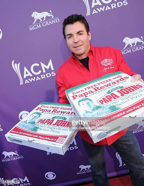 Papa John's Pizza CEO John Schnatter is interviewed as he arrives at the 47th Annual Academy Of Country Music Awards held at the MGM Grand Garden...