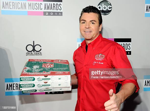 Papa John's Pizza Founder John Schnatter arrives at the 2011 American Music Awards held at Nokia Theatre LA LIVE on November 20 2011 in Los Angeles...