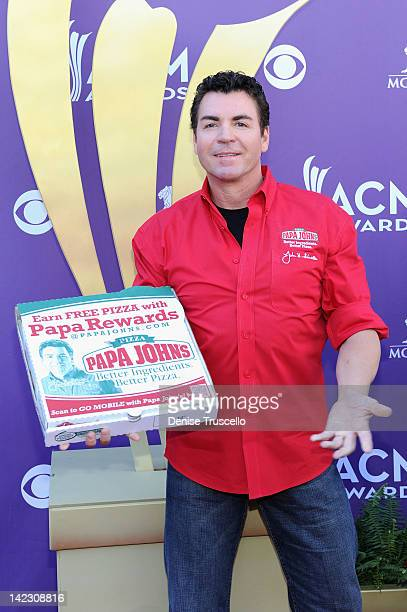 Papa Johns Pizza Founder John Schnatter arrives at the 47th Annual Academy Of Country Music Awards held at the MGM Grand Garden Arena on April 1 2012...