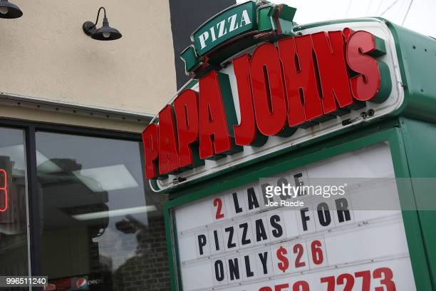 Papa John's restaurant is seen on July 11 2018 in Miami Florida The founder of Papa John's pizza John Schnatter apologized Wednesday for using the...