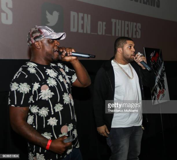 Papa Keith and O'Shea Jackson Jr at The Den of Thieves special screening at Regal South Beach on January 10 2018 in Miami Florida