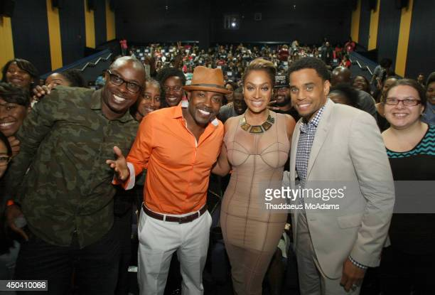 Papa Keith Will Packer LaLa Anthony and Michael Ealy attend Sony Pictures' Think Like A Man Too Miami red carpet screening at Regal South Beach on...