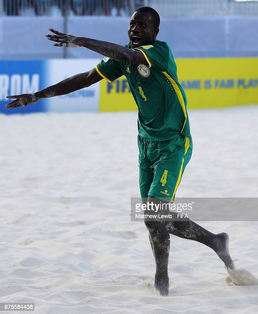 Papa Ndour of Senegal celebrates his goal during the FIFA Beach Soccer World Cup Bahamas 2017 group A match between Switzerland and Senegal at the...