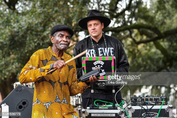 Papa Titos Som Pa of Congo and Win Butler of Arcade Fire participate in the second annual Krewe du Kanaval parade on February 22, 209 in New Orleans,...