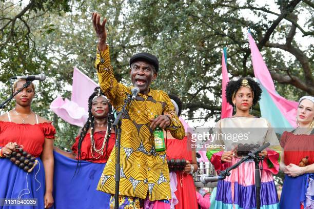 Papa Titos Som Pa of Congo performs in the second annual Krewe du Kanaval parade on February 22, 209 in New Orleans, Louisiana.