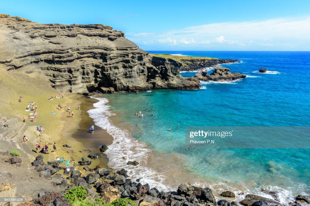 Papakōlea Beach or Green sand beach : Stock Photo