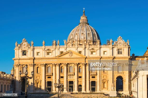 Papal Basilica of Saint Peter at St Peters square in early morning light, Vatican City, Rome, Italy.
