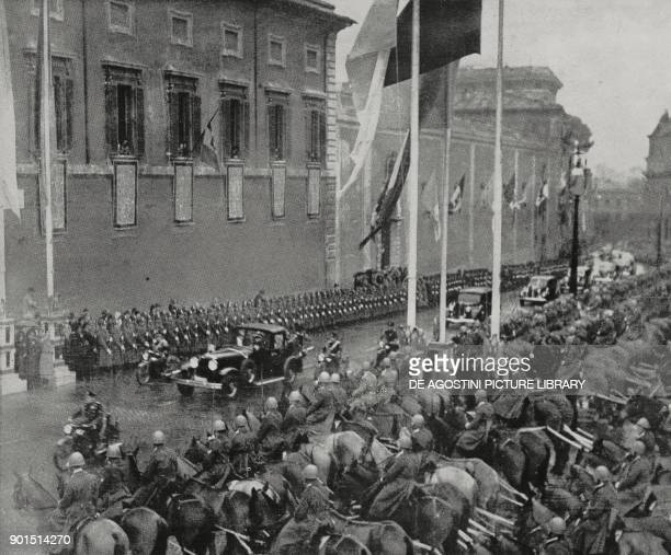 Papal procession along the streets of Rome on the occasion of Pope Pius XII's visit to the Quirinale December 28 Italy from L'Illustrazione Italiana...