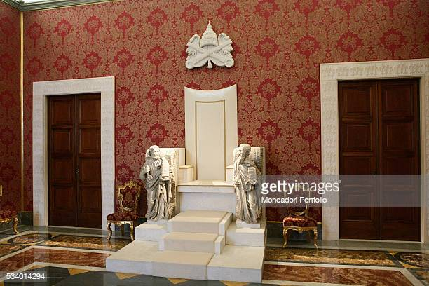 Papal throne in the Second Loggia of the Apostolic Palace Vatican City 3rd July 2007