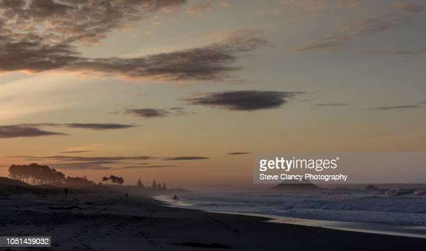 papamoa sunset - mount maunganui stock pictures, royalty-free photos & images