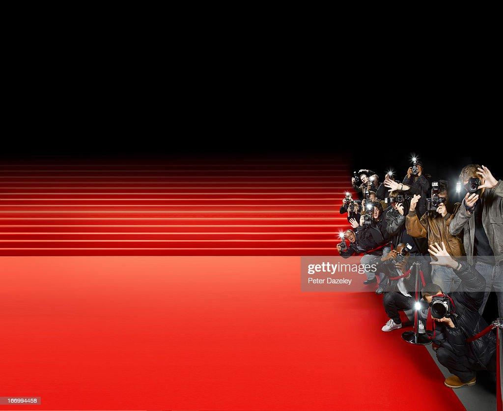 Paparazzi photographers along red carpet : Stock Photo
