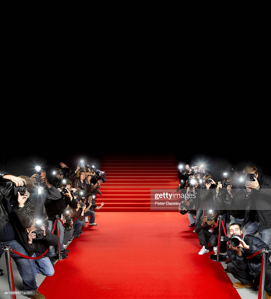 Paparazzi photographers along red carpet stock photo getty images - Red carpet photographers ...