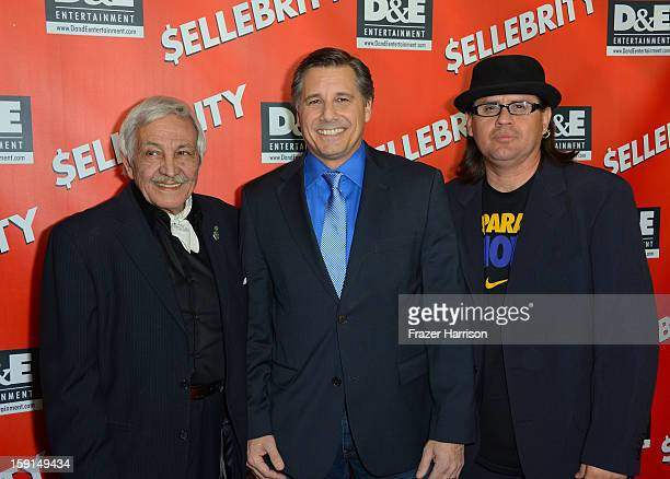 Paparazzo Gilberto Petrucci Director and Celebrity Photographer Kevin Mazur and Paparazzo Ricardo Mendoza arrive at the premiere of '$ellebrity' at...