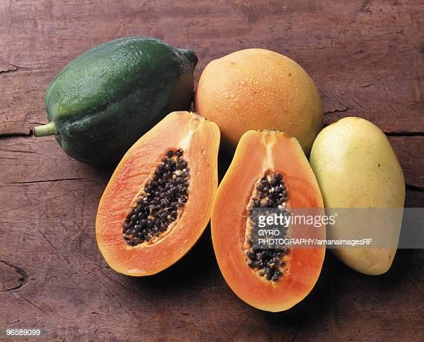 Papaya and mango, close up