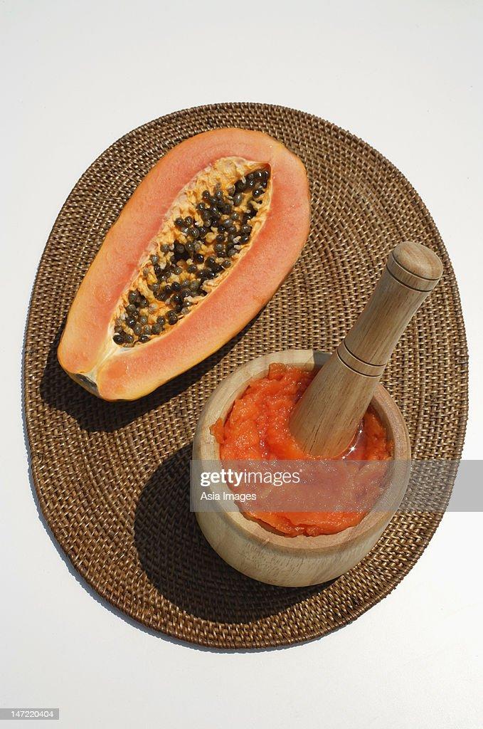 papaya and natural papaya facial : Stock Photo