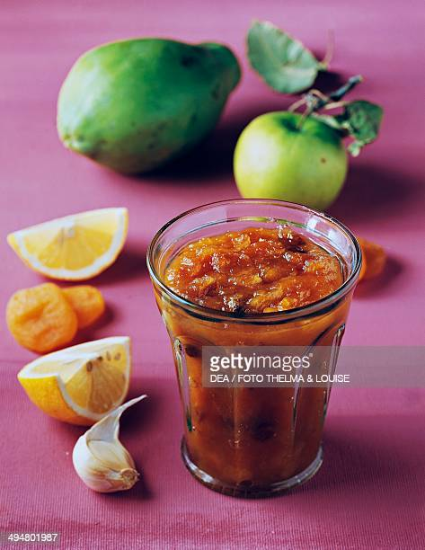 Papaya chutney spicy sauce India