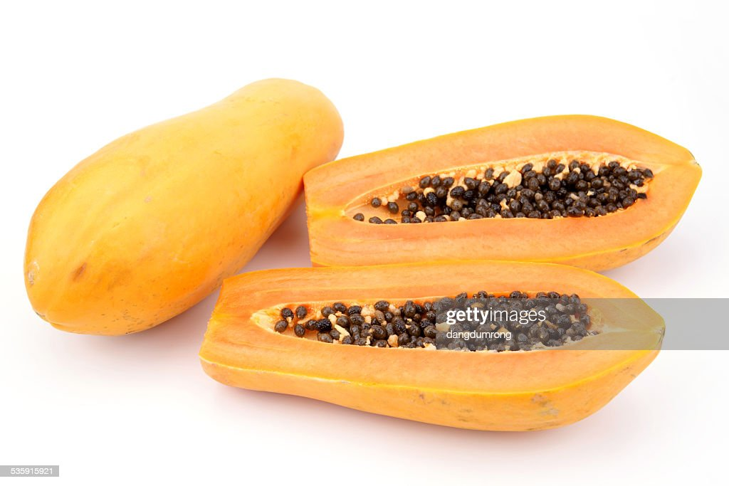 Papaya isolated on White Backgrounds : Stock Photo