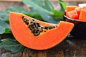 papaya slice on wood