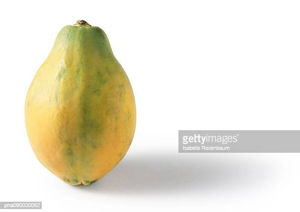 papaya, white background - papaya stock photos and pictures