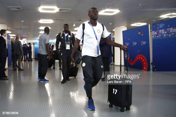 Pape Alioune Ndiaye of Senegal arrives at the stadium prior to the 2018 FIFA World Cup Russia group H match between Poland and Senegal at Spartak...