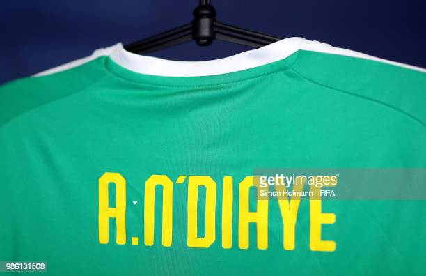 Pape Alioune Ndiaye's shirt hang inside the Senegal dressing room prior to the 2018 FIFA World Cup Russia group H match between Senegal and Colombia...
